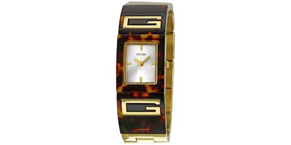 Dámské jantarově hnědé analogové hodinky Guess