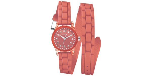 Dámské oranžové analogové hodinky Guess