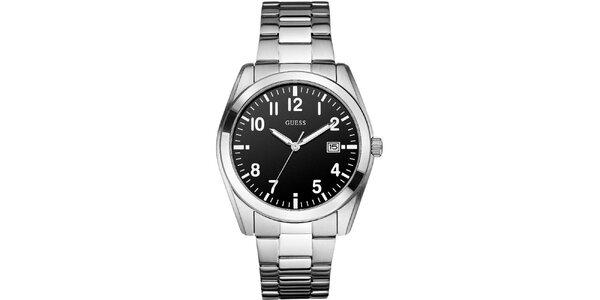 Pánské klasické náramkové hodinky s černým ciferníkem Guess