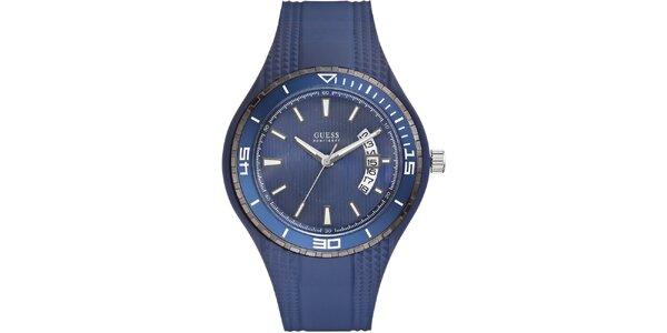 Pánské modré analogové hodinky Guess s datumovkou