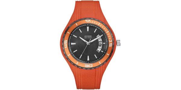 Pánské oranžové náramkové hodinky Guess