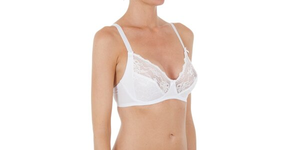 Dámská bílá krajková podprsenka bez kostic Laura Biagiotti