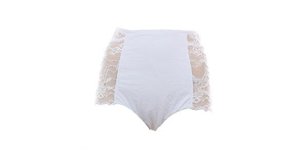 Dámské vysoké bílé kalhotky s krajkou Laura Biagiotti