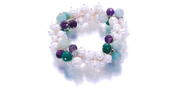 Dámský náramek s bílými perlami, amazonitem a nefrity Orchira