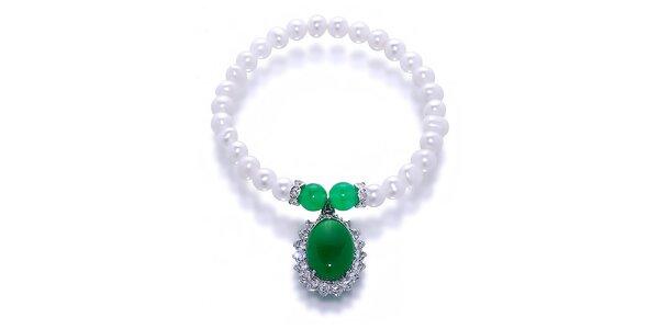 Dámský perlový náramek se zeleným malajským nefritem Orchira