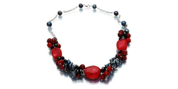 Dámský černo-červený náhrdelník s perlami a onyxem Orchira