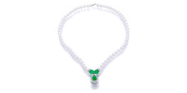 Dámský náhrdelník s perlami a nefrity Orchira