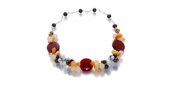 Dámský náhrdelník z perel a polodrahokamů Orchira