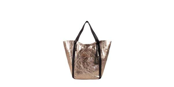Dámská zlato-růžová lesklá kabelka Joysens