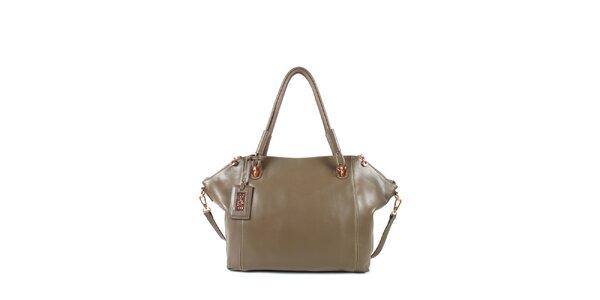 Dámská šedo-béžová kožená kabelka s odepínacím popruhem Joysens