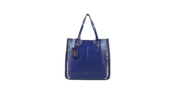 Dámská modrá kožená kabelka s cvočky a visačkou Joysens