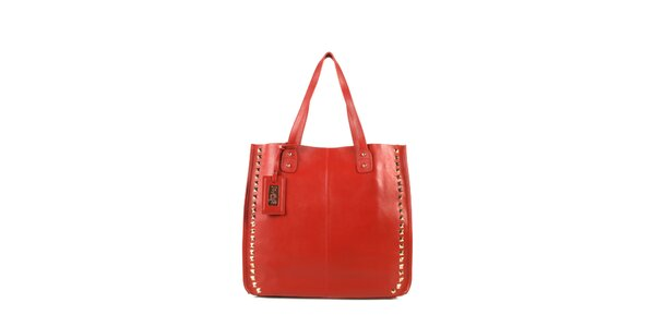 Dámská červená kožená kabelka s cvočky a visačkou Joysens