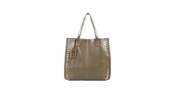 Dámská šedo-béžová kožená kabelka s cvočky a visačkou Joysens