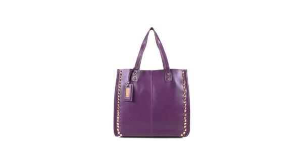 Dámská fialová kožená kabelka s cvočky a visačkou Joysens