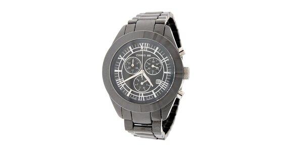 Pánské ocelově šedé keramické hodinky Cerruti 1881