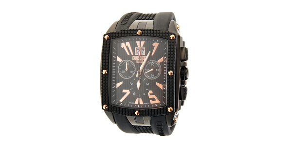 Pánské černé hodinky Cerruti 1881 se zlatými detaily a pryžovým páskem