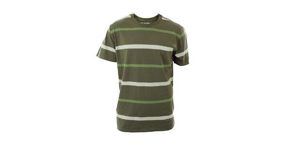 Pánské olivově zelené tričko s proužky Hannah