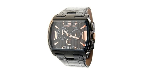 Černé ocelové hodinky Cerruti 1881 s černým koženým páskem