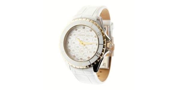 Dámské bílé hodinky Cerruti 1881 s bílým koženým páskem a krystaly