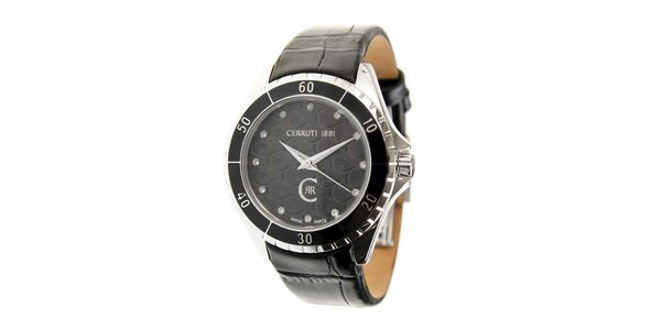 Dámské černé hodinky Cerruti 1881 s černým koženým páskem a krystaly