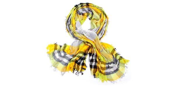 Dámský žlutý kostkovaný šátek Fraas