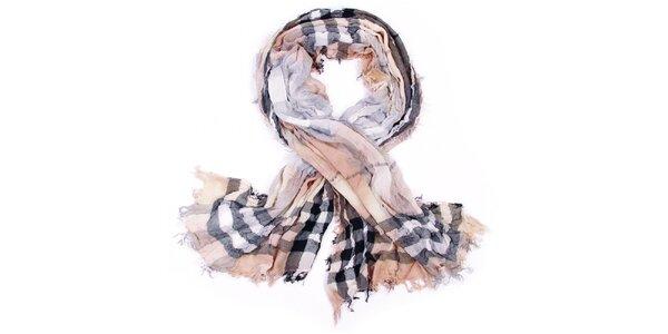 Dámský béžovo-černý kostkovaný šátek Fraas