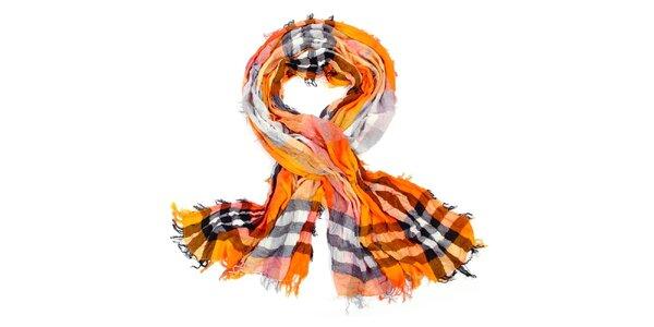 Dámský oranžový kostkovaný šátek Fraas