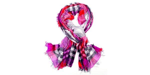 Dámský růžový kostkovaný šátek Fraas