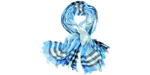 Dámský modrý kostkovaný šátek Fraas