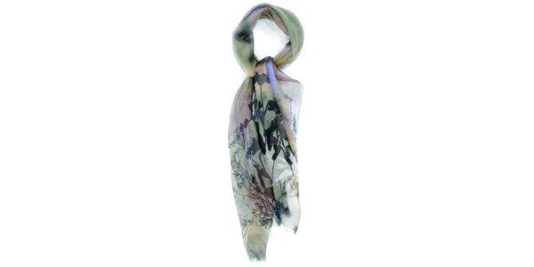 Dámský duhový šátek s černým potiskem Fraas