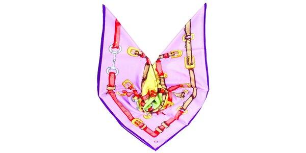 Dámský fialový šátek s potiskem Fraas