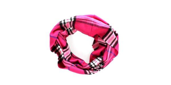 Dámský růžový kruhový šál s klasickým vzorem Fraas