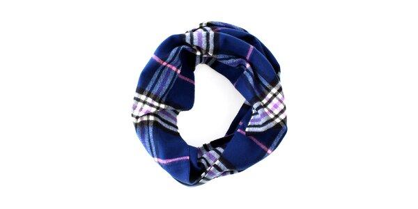 Modrý kruhový šál s růžovo-bílým detailem Fraas