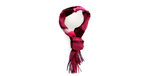 Dámská růžovo-černá kostkovaná šála Fraas