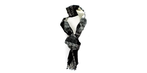 Pánská černo-šedo-bílá šála Fras