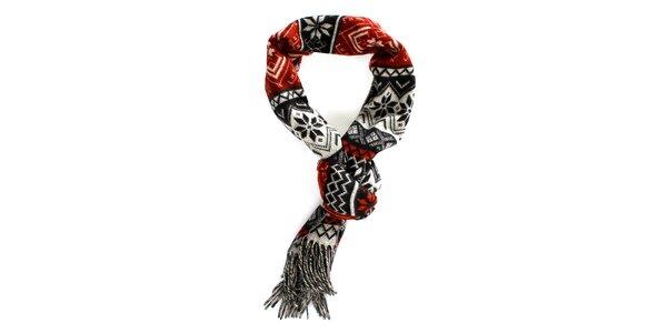 Červeno-černá šála s norským vzorem Fraas