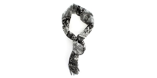 Šedo-černá šála s norským vzorem Fraas