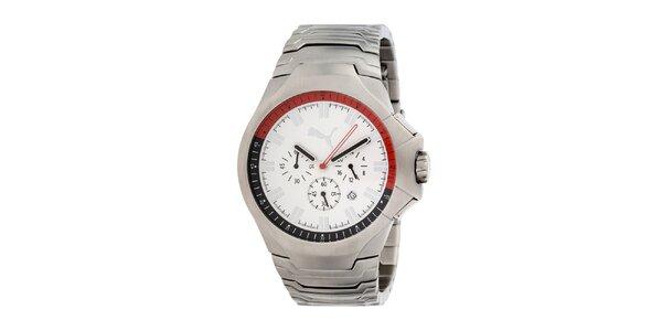 Pánské stříbrné analogové hodinky s bílým ciferníkem Puma
