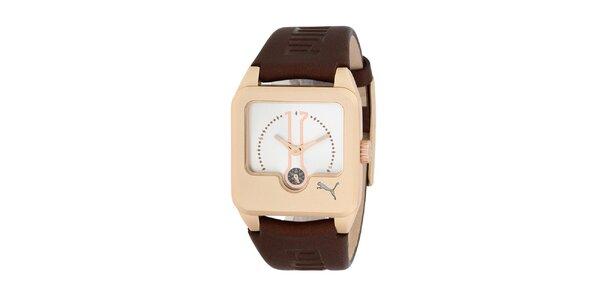 Dámské hnědo-zlaté analogové hodinky Puma