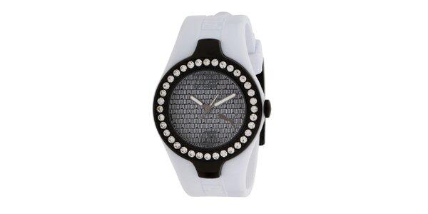 Dámské analogové hodinky s krystaly a bílým řemínkem Puma