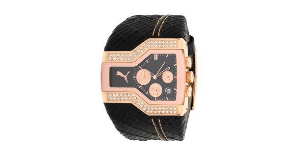 Dámské atypické analogové hodinky Puma s černým řemínkem