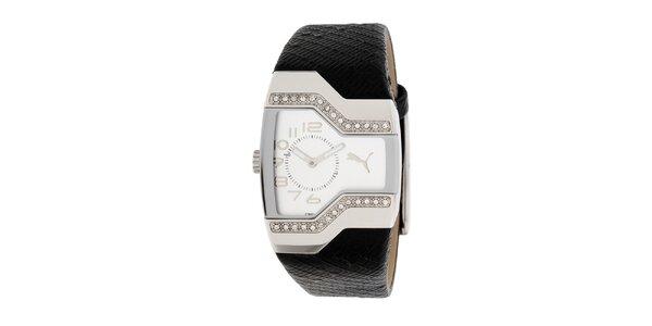 Dámské černo-stříbrné analogové hodinky s krystaly Puma