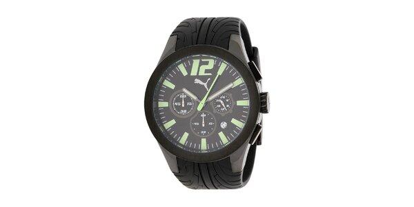 Pánské černé ocelové hodinky Puma s plastovým řemínkem