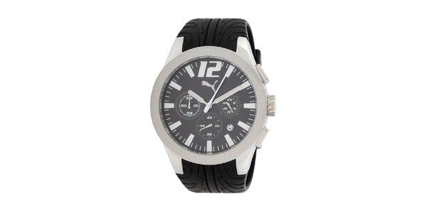 Pánské stříbrné hodinky s chronografem Puma