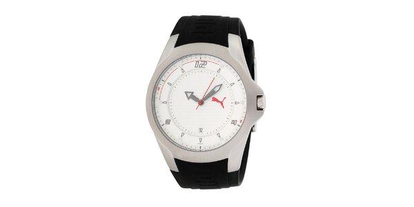 Pánské černo-stříbrné hodinky s červenými detaily Puma