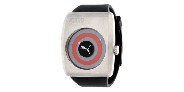 Pánské černo-stříbrné hodinky s červeným detailem Puma