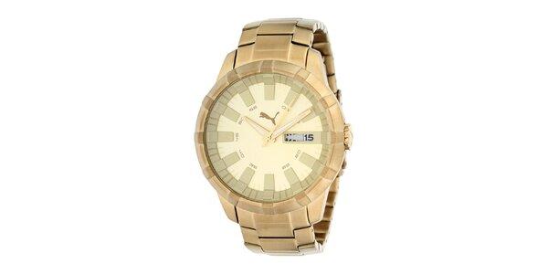 Pánské zlatě tónované hodinky Puma