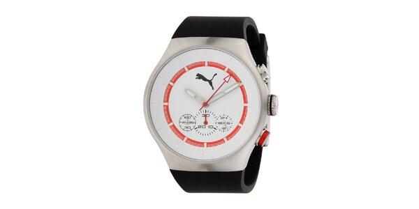 Pánské stříbrné hodinky s červeným proužkem a chronografem Puma