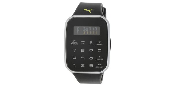 Pánské černé digitální hodinky s černým řemínkem Puma
