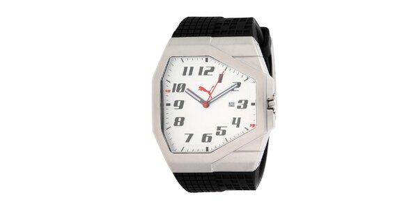Pánské stříbrné hranaté hodinky Puma